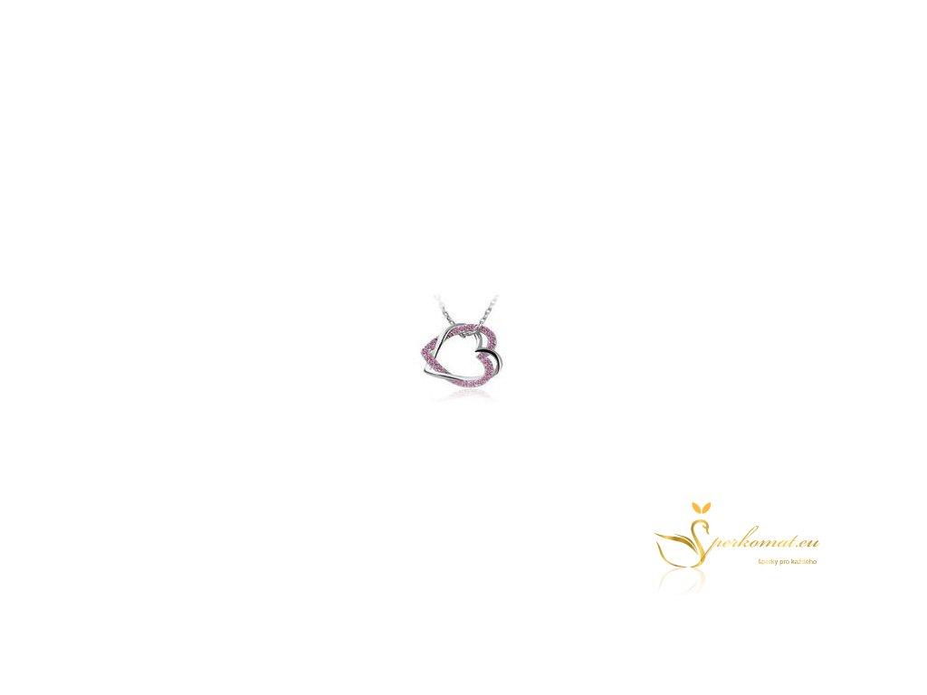 Náhrdelník dvě propletené srdíčka barva růžová