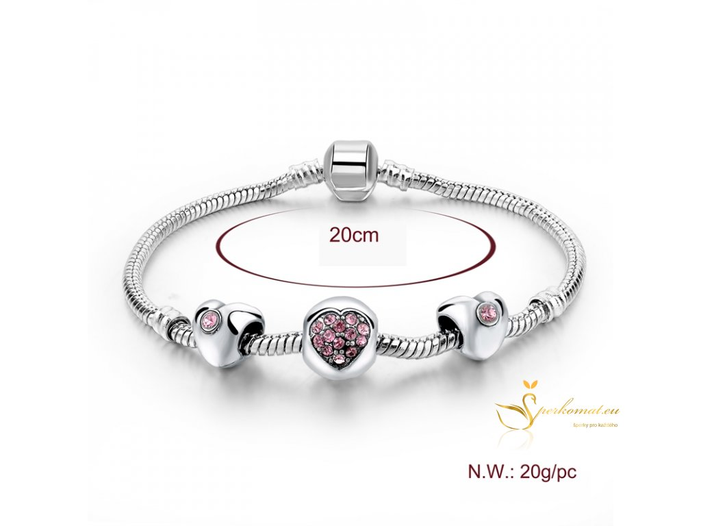 Originální stříbrný  náramek růžovo stříbrný