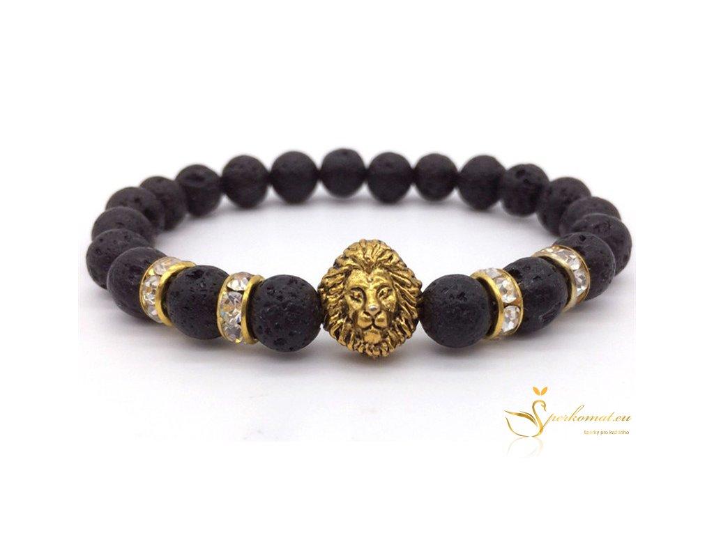 Náramek lev z lávových kamenů