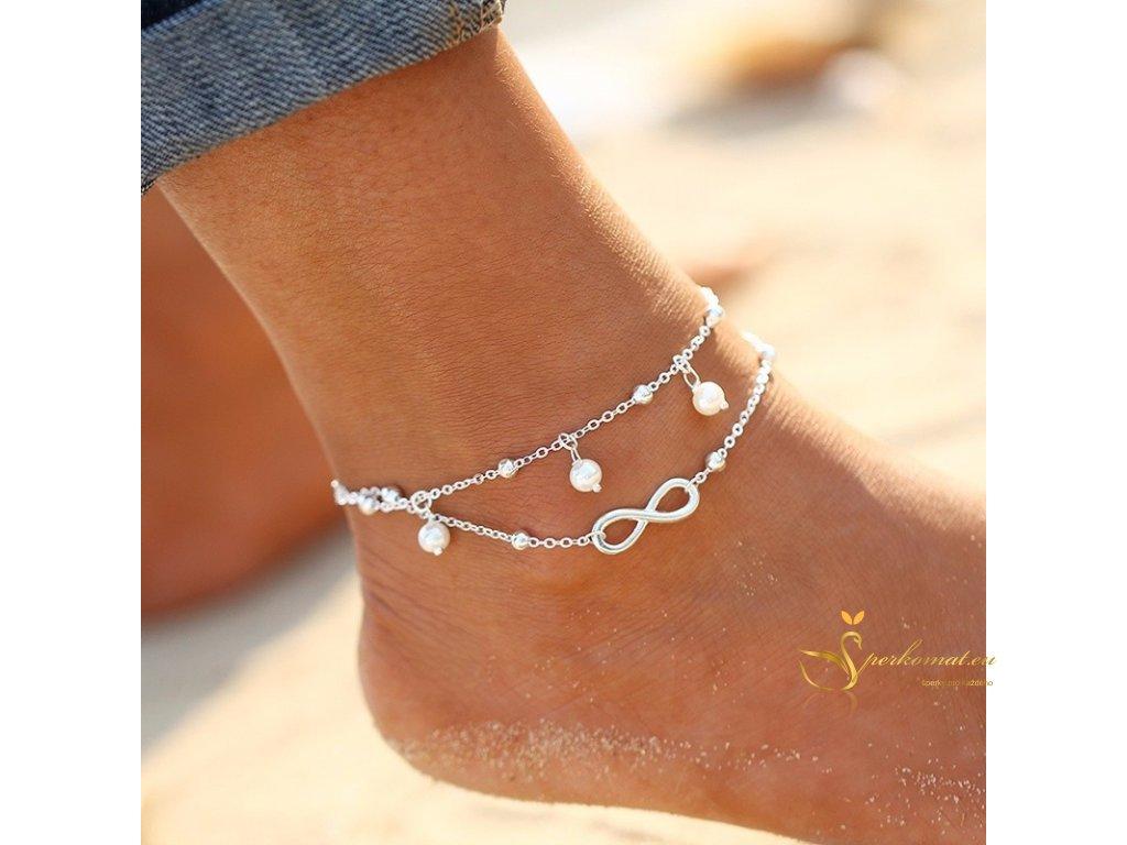 Dvouřadý řetízek na nohu stříbrný