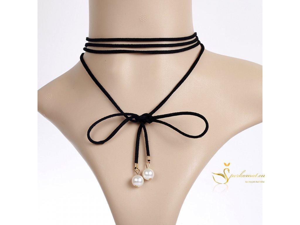 Černý kožený choker s perlami na konci