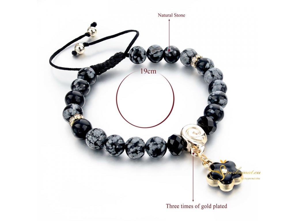 Originální náramek s přírodními kameny-obsidián_květ
