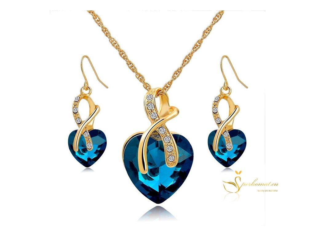 Náhrdelník a náušnice. Modré srdce ve zlatě