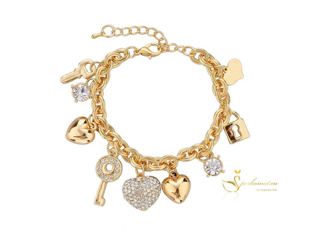 Nádherný pozlacený náramek- srdce, klíče a zámky.
