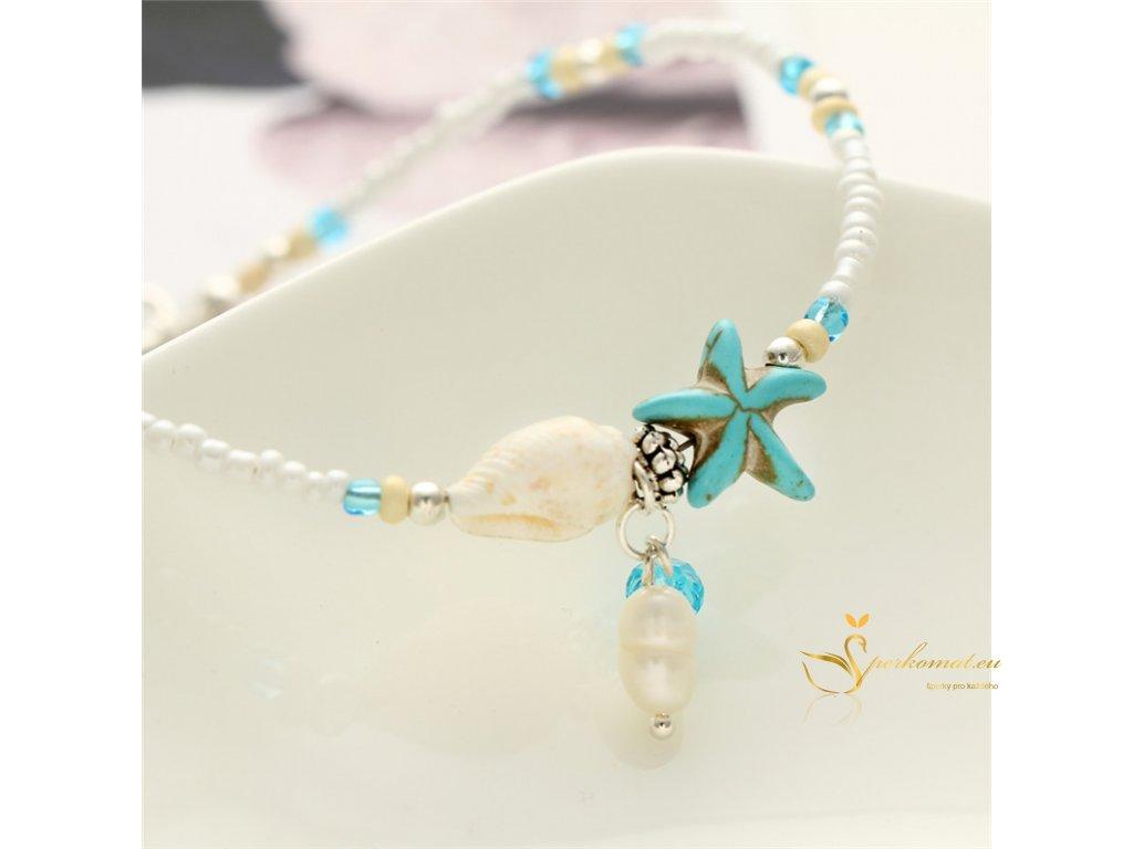 Luxusní kotníkový řetízek s perla, mušle a hvězdice1