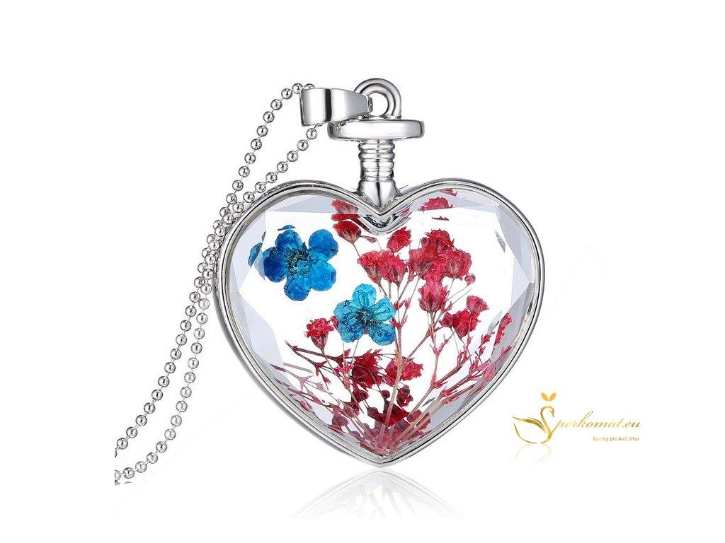 Luxusní broušený skleněný náhrdelník s květinou