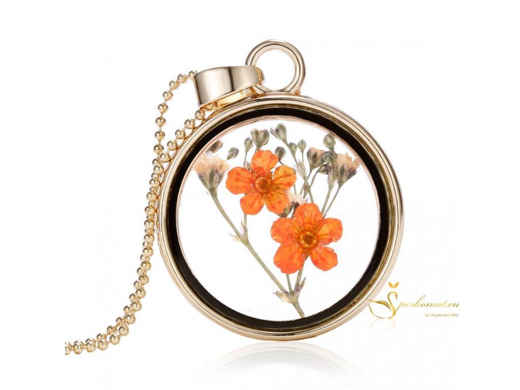 Nádherný skeněný náhrdeník s květinou uvnitř1