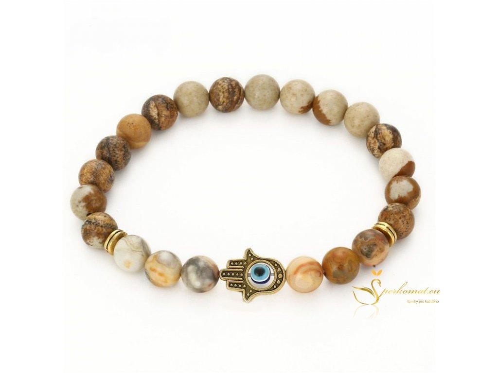 Náramek z přírodních kamenů ruka hamsa2