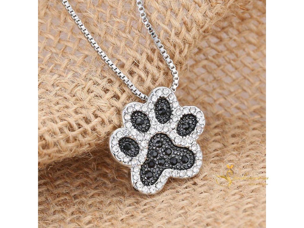 Náhrdelník ve tvaru psí nebo kočičí tlapky-stříbrnočerný