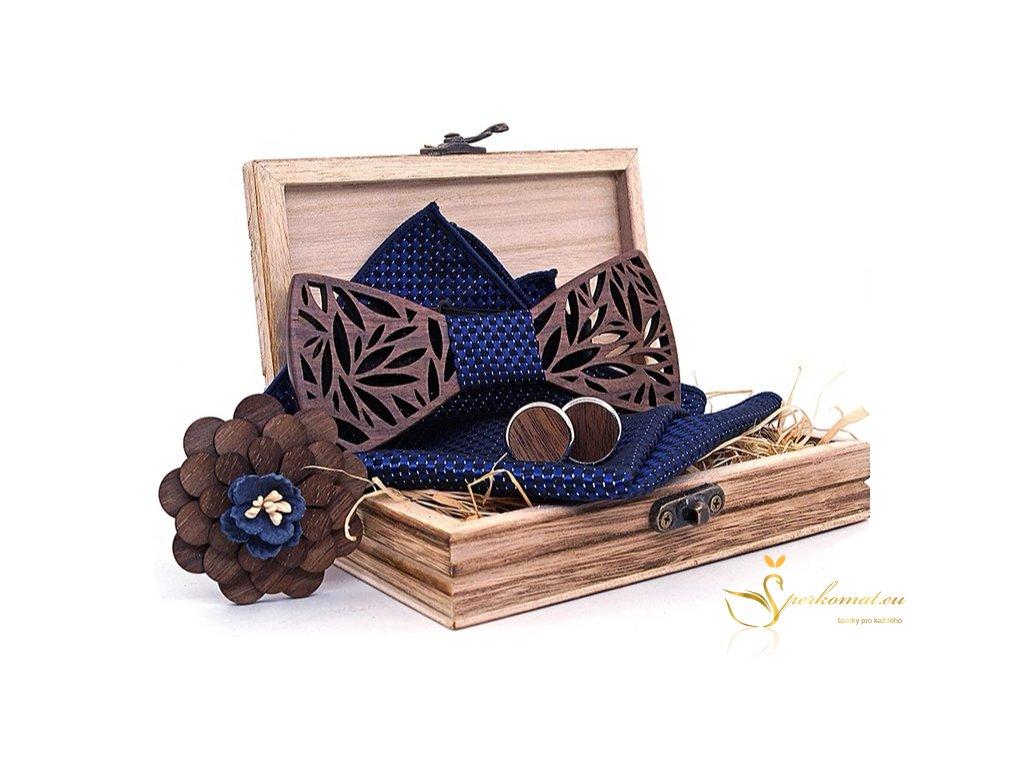 Dárková sada dřevěného motýlku s kapesníčkem a manžetovými knoflíčky
