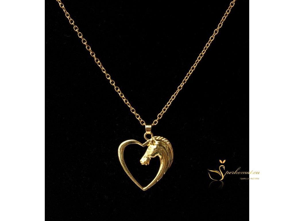 Náhrdelník kůň v srdci. Barva zlatá