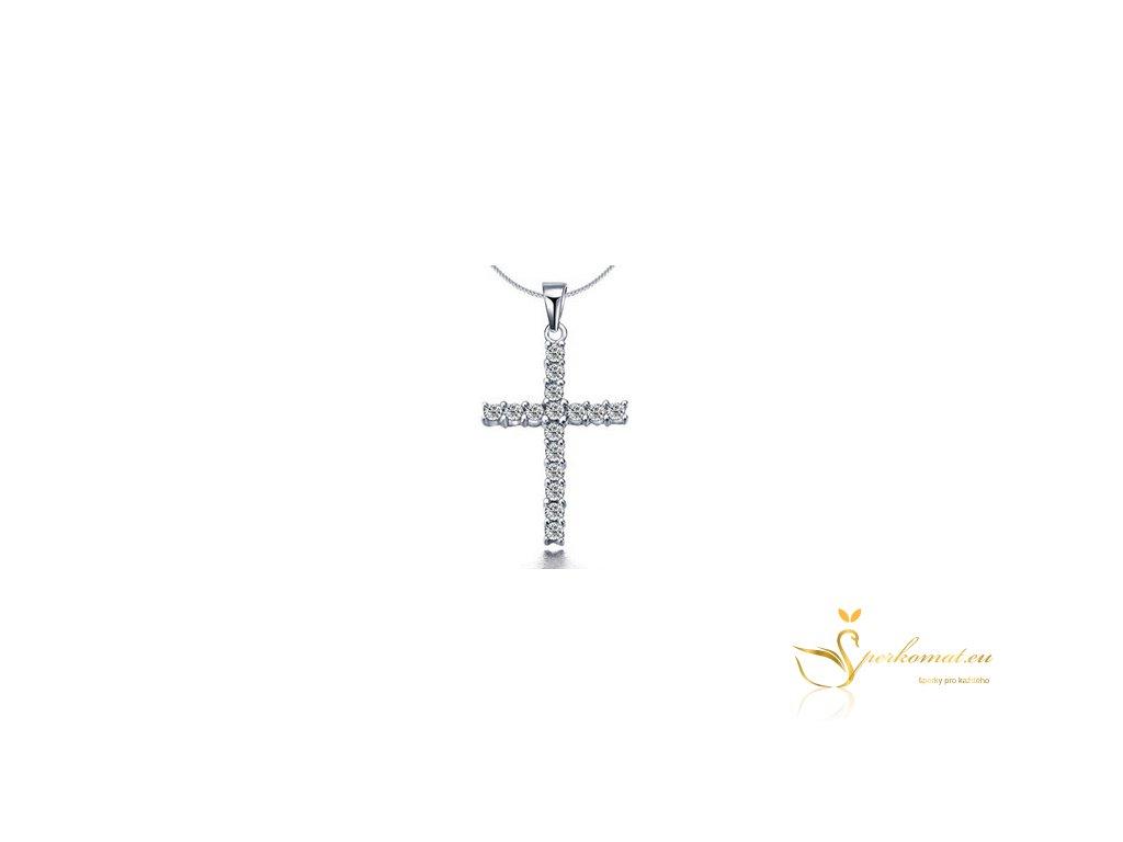Náhrdelník ve tvaru kříže. Barva stříbrná