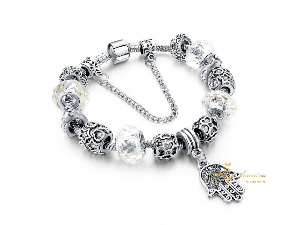 Luxusní stříbrný náramek s přívěškem magická ruka