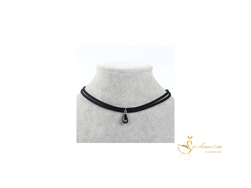 Kožený náhrdelník s přívěškem ve tvaru černého krystalu