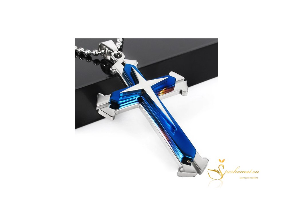 Náhrdekník s přívěškem ve tvaru kříže. Modro stříbrný