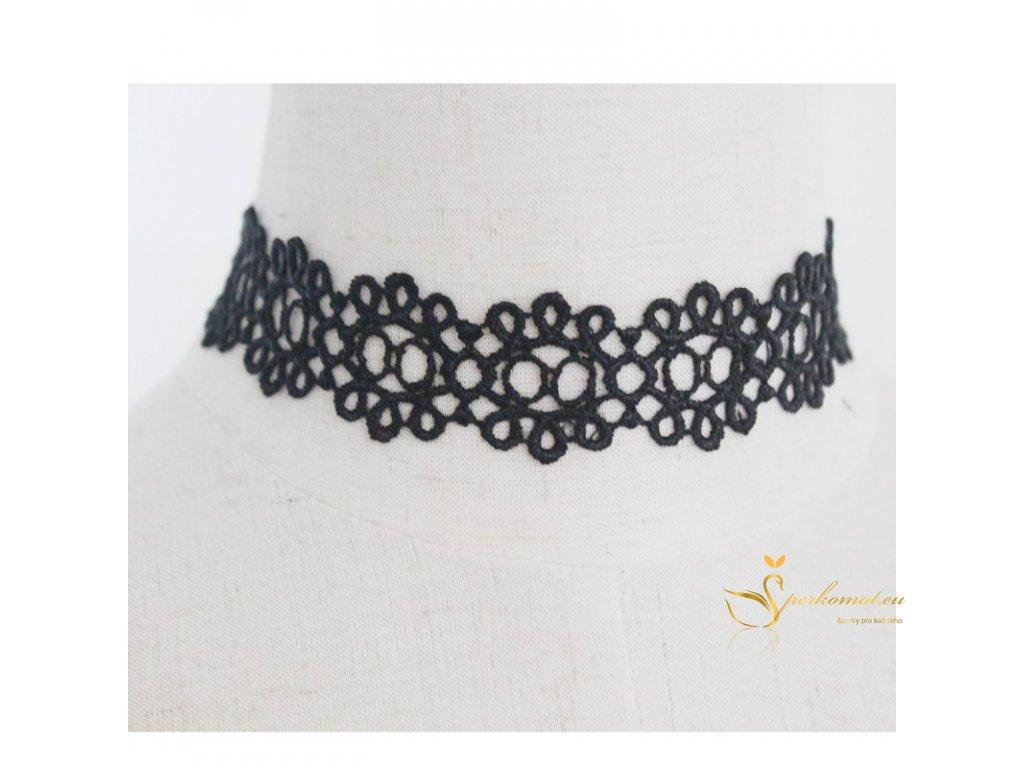 Krajkovaný náhrdelník. Černá barva