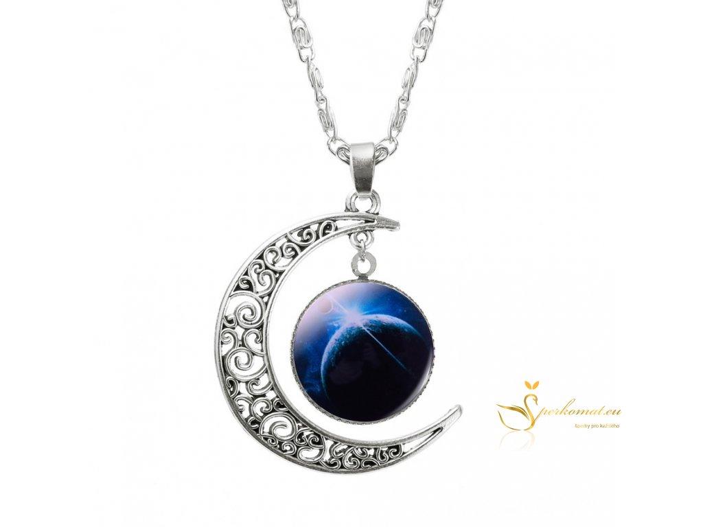 Náhrdelník ve tvaru měsíce s vesmírným objektem uvnitř 3
