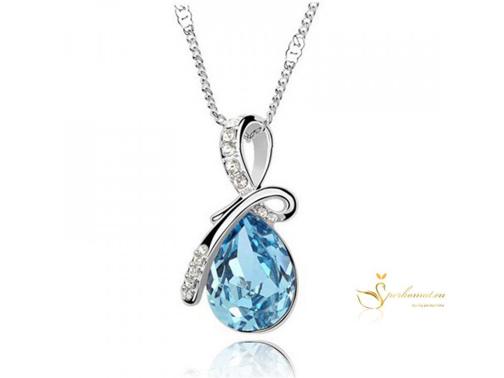 Náhrdelník s krystalem ve tvaru vodní kapky. Modrá