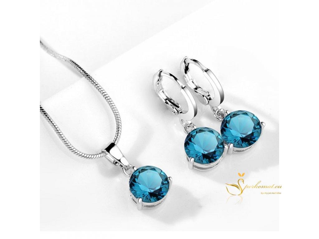 Set náušnice s náhrdelníkem. Modré kamínky