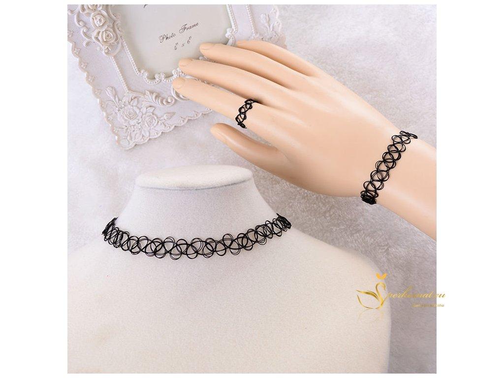 Vintage elastický set náramek, prsten a náhrdelník.