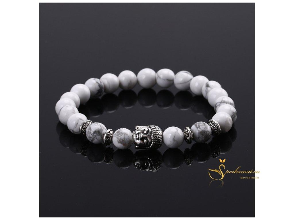 Náramek z přírodních kamenů (magnesit)s Buddhou