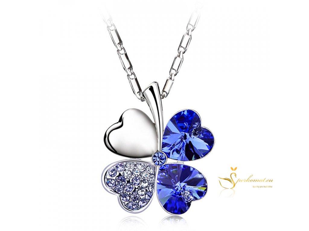 Krásný náhrdeník ve tvaru čtyřlístku. Tmavě modrá barva.