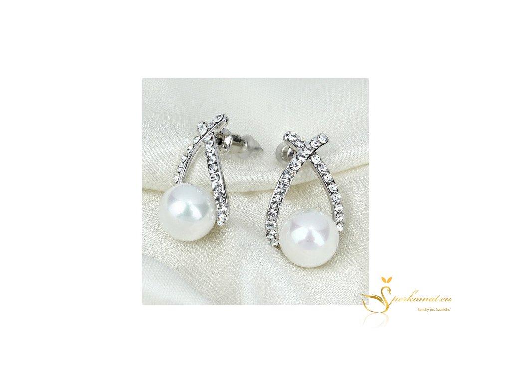 Náušnice s perlou (imitace) v stříbrné barvě - WWW.ŠPERKOMAT.EU 8111ec09f79