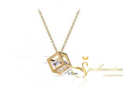 Originální pozlacený náhrdelník s přívěškem ve tvaru kostky a diamantu