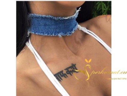 Modrý denim náhrdelník choker