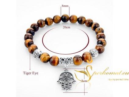 Originální náramek s přírodními kameny-tygří oko-ruka