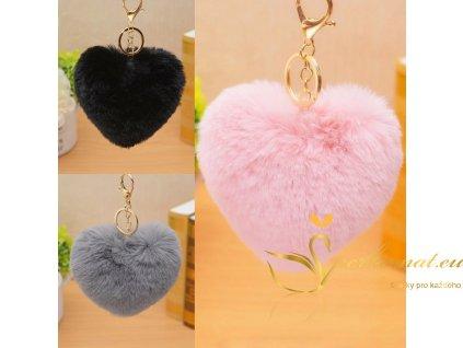 Králičí přívěšky (srdíčka) na kabelku, klíče a telefony