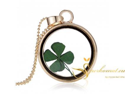 Originální skleněný náhrdelník s čtyřlístkem