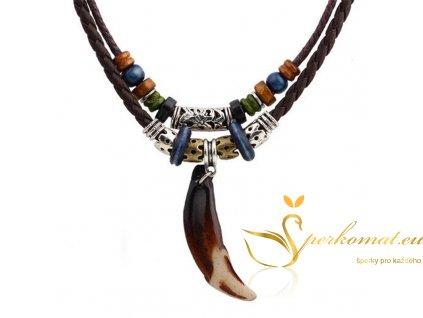 Kožený náhrdelník kost