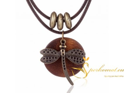 Dřevěný náhrdelník s vážkou