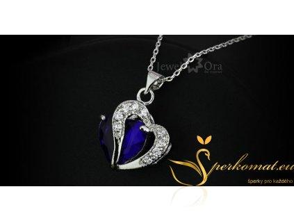 Přívěšek ve tvaru srdce. Modro stříbný