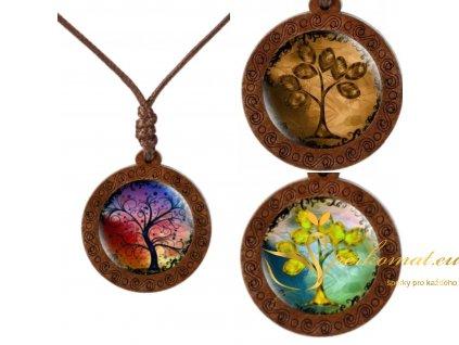 Dřevěný náhrdelník rodinný strom