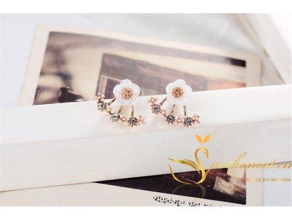 Náušnice ve tvaru květu s orámováním. Barva růžové zlato.