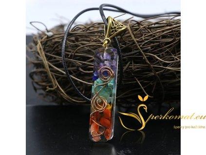Retro chakra náhrdelník s přírodních kamenů