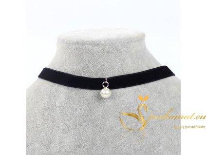 Náhrdelník s přívěškem bílá perla.