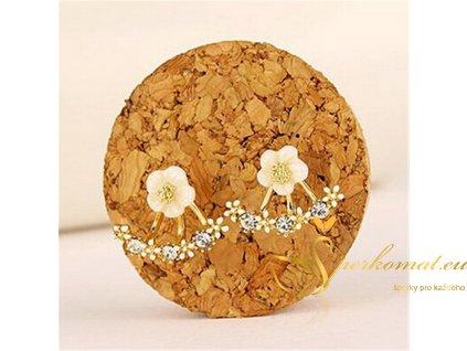 Náušnice ve tvaru květu s orámováním. Barva zlatá.