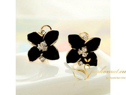 Nádherné náušnice ve tvaru květu. Černá barva