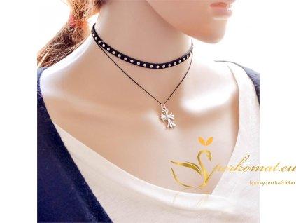 Módní dvouřadý flanelový náhrdelník s přívěškem kříže