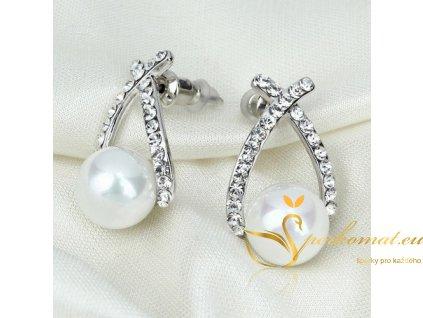 Náušnice s perlou (imitace) v stříbrné barvě