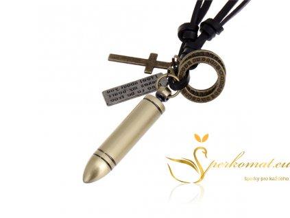 Kožený náhrdelník s přívěškem ve tvaru kulky