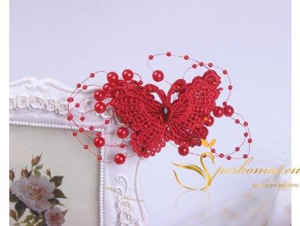 Vlasová spona červený motýl s perlama