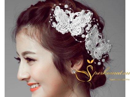 Vlasová spona bílí motýl s perlama