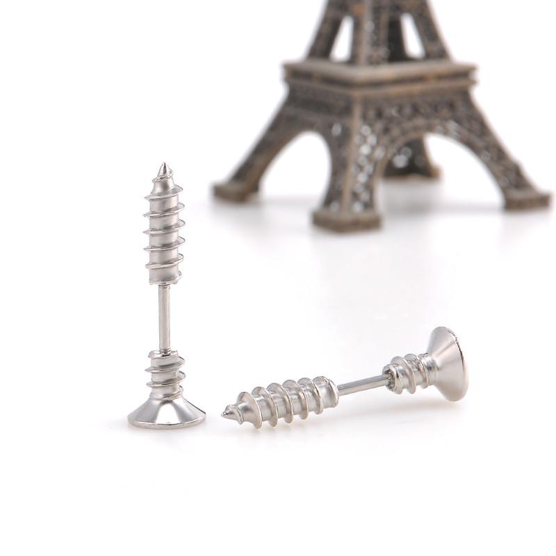 Originální piercing (náušnice) ve tvaru šroubu. Stříbrná barva