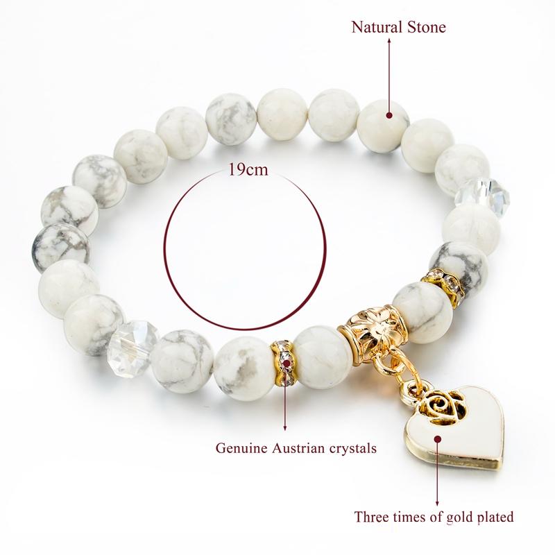 Originální náramek s přírodními kameny-bílé(magnesit)