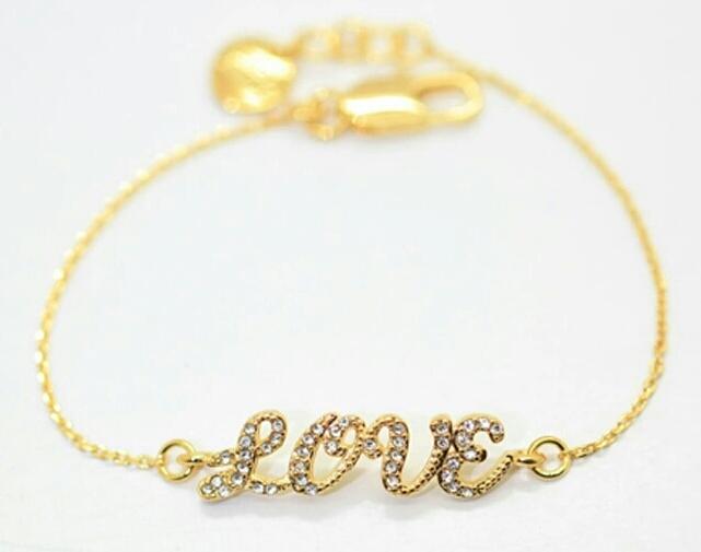 Luxusní kotníkový náramek s nápisem LOVE (zlatý a stříbrný) Barva: ZLATÁ
