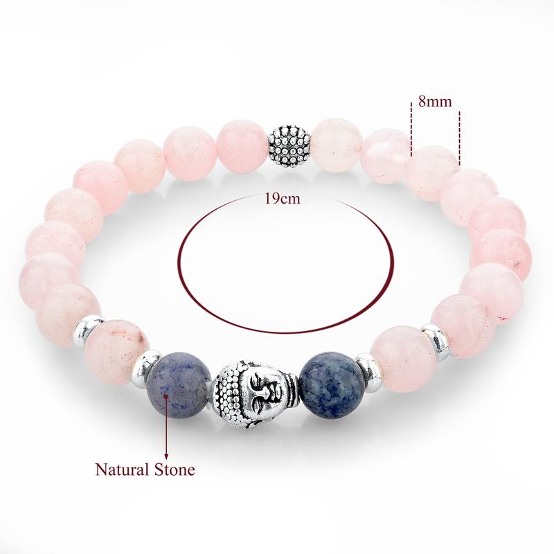 Originální náramek s přírodními kameny-růžová(růženín)budha